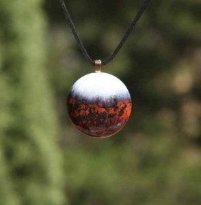 Mars Blown Glass Pendant Necklace