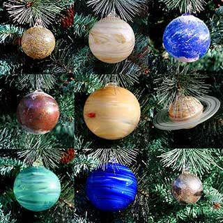 Blown glass ornaments for the whole solar system